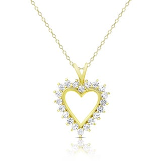 Dolce Giavonna Gold Over Silver or Sterling Silver Cubic Zirconia Heart Necklace