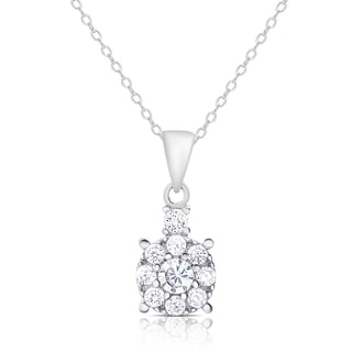 Dolce Giavonna Sterling Silver Cubic Zirconia Round Necklace