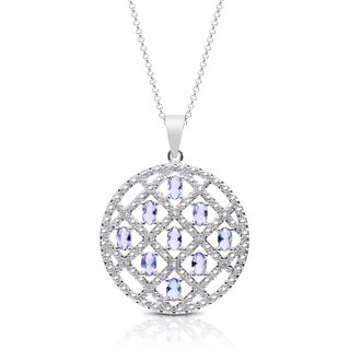 Dolce Giavonna Silver Overlay Simulated Tanzanite and Cubic Zirconia Medallion Necklace