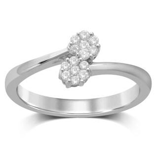 Unending Love 10K White Gold Diamond Floral Ring