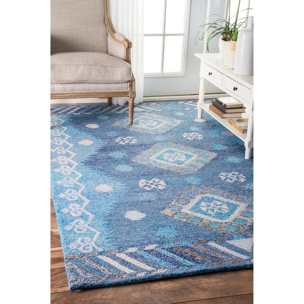 nuLOOM Handmade Bohemian Tribal Diamond Blue Rug (4' x 6')
