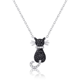 Dolce Giavonna Silver Overlay Black and White Cubic Zirconia Cat Necklace