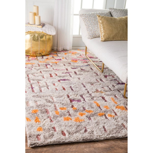 "nuLOOM Soft and Plush Handmade Moroccan Abstract Multi Shag Rug (7'6 x 9'6) - 7'6"" x 9'6"""