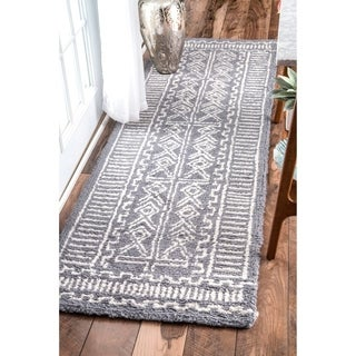 nuLOOM Handmade Diamond Ridge New Zealand/ Indian Wool Grey Runner Rug (2'6 x 8')