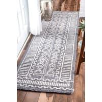 "nuLOOM Handmade Diamond Ridge New Zealand/ Indian Wool Grey Runner Rug (2'6 x 8') - 2'6"" x 8' runner"