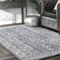 nuLOOM Handmade Diamond Ridge New Zealand/ Indian Wool Grey Rug (4' x 6') - 4' x 6'