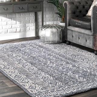 nuLOOM Handmade Diamond Ridge New Zealand/ Indian Wool Grey Rug (8'6 x 11'6)