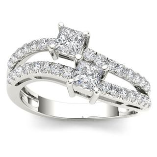 De Couer 14k White Gold 1ct TDW Two-Stone Diamond Engagement Ring - White H-I