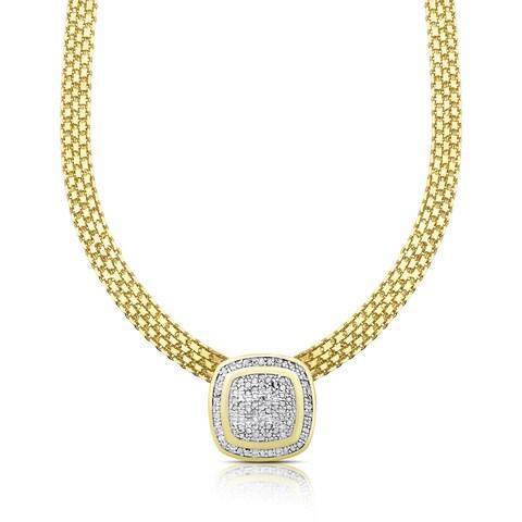 Finesque Gold Overlay 1/2ct TDW Diamond Cushion Necklace