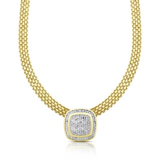 Finesque Gold Overlay 1/2ct TDW Diamond Cushion Necklace