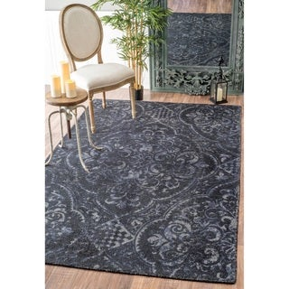 nuLOOM Handmade Country Floral Centerpiece Wool Navy Rug (8'6 x 11'6)