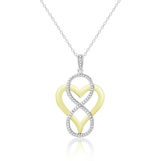 Finesque Gold Overlay Diamond Accent Heart and Infinity Design Necklace