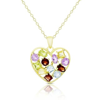 Dolce Giavonna Gold Over Sterling Silver Multi Gemstone Heart Necklace