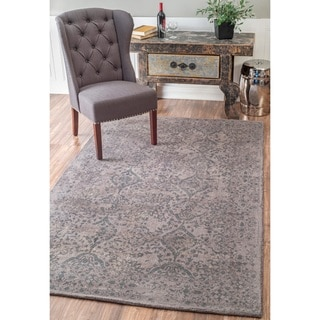 nuLOOM Handmade Country Floral Ornament Wool Grey Rug (8'6 x 11'6)