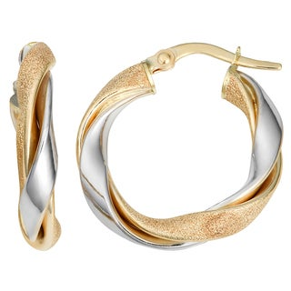 Fremada Italian 14k Two-tone Gold 3x15-mm Twisted Round Hoop Earrings