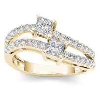De Couer 14k Yellow Gold 1ct TDW Two-Stone Diamond Engagement Ring