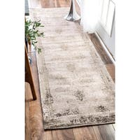 Maison Rouge Anvari Handmade Distressed Abstract Vintage Ivory Runner Rug (2'6 x 12')