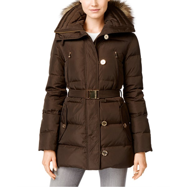 Shop Michael Kors Women s Brown Down and Faux Fur Belted Puffer Coat - Free  Shipping Today - Overstock - 12835119 4ebc9c154f