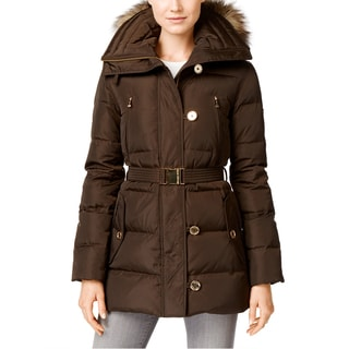 Michael Kors Women's Brown Down and Faux Fur Belted Puffer Coat