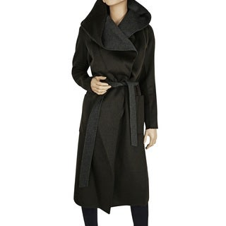 BCBG Max Azria Women's Chandler Olive Green Wool Wrap Coat