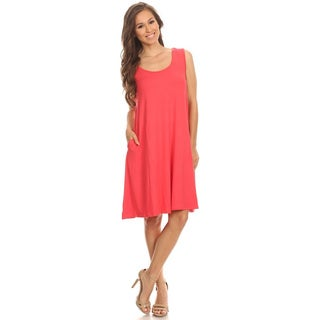 Women's Sleeveless Solid-colored Rayon/Spandex Dress