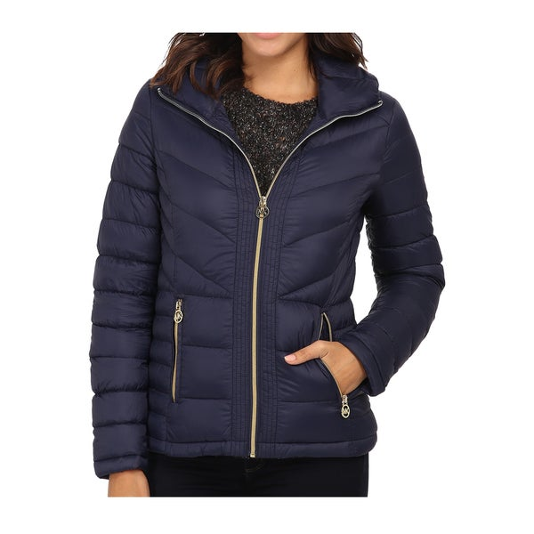 Shop Michael Kors Womens Navy Down Chevron Quilted Jacket Free