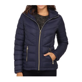 Michael Kors Women's Navy Down Chevron Quilted Jacket