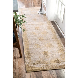 nuLOOM Handmade Distressed Abstract Vintage Sand Runner Rug (2'6 x 12')