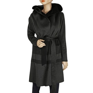 BcbgMaxazria Women's Ellie Charcoal Wool-wrapped Coat
