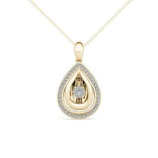 De Couer 10K Yellow Gold 1/5ct TDW Dancing Diamond Necklace
