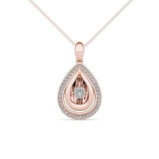 De Couer 10K Rose Gold 1/5ct TDW Dancing Diamond Necklace
