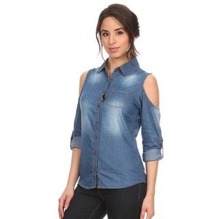 Women's Denim Cutout 3/4 Sleeve Shirt