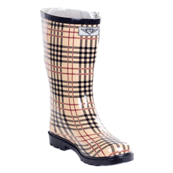 FOREVER YOUNG Women's Mid Calf Plaid Rain Boots Beige 11