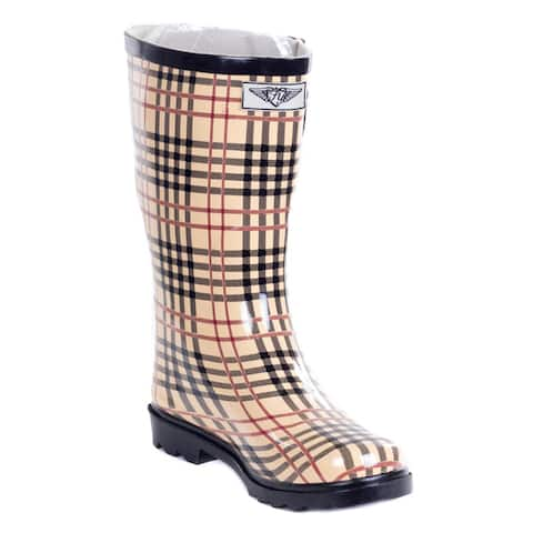 Women's 'Forever Young' Plaid Rubber 11-inch Mid-calf Rain Boots