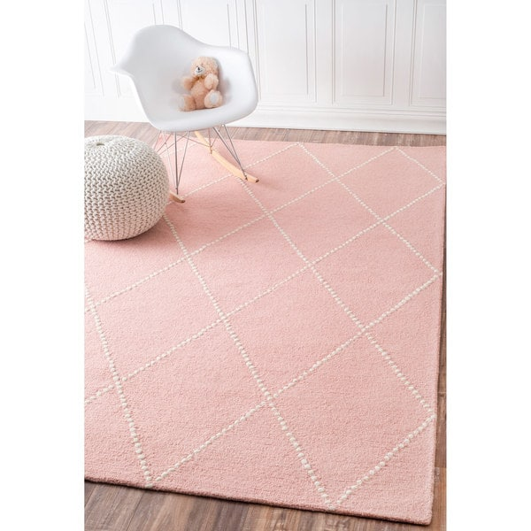 NuLOOM Handmade Dotted Trellis Wool Kids Nursery Baby Pink
