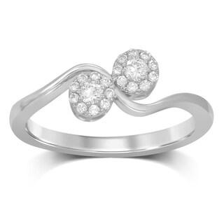 Unending Love 10k White Gold 1/4-carat I-J I2-I3 Diamond Halo Fashion Ring