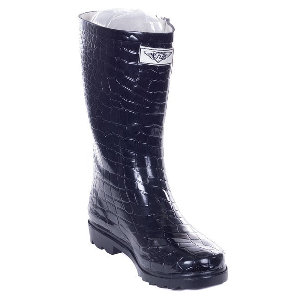 Women's Black Rubber 11-inch Mid-calf Croco Rain Boots
