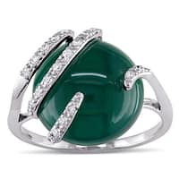 Miadora Green Chalcedony and 1/8ct TDW Diamond Cocktail Ring in 10k White Gold (G-H,I2-I3)