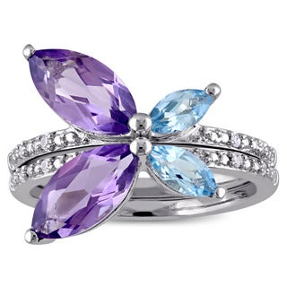 Miadora Marquise-cut Amethyst Sky Blue Topaz and Diamond Accent Stackable 2-Piece Butterfly Ring Set