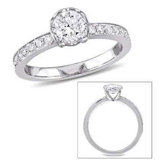 Miadora Signature Collection 1ct TDW Diamond Heart Accent Engagement Ring in 14k White Gold
