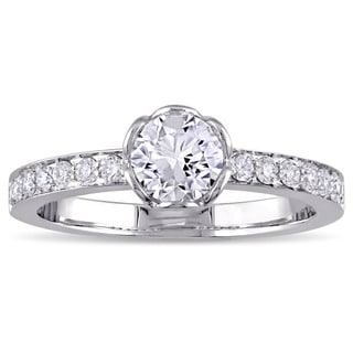 Miadora Signature Collection 1ct TDW Diamond Flower Engagement Ring in 14k White Gold