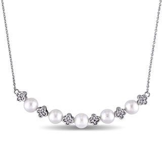 Miadora 5.5-6mm Freshwater Cultured Pearl and Diamond Accent Flower Bead Station Necklace in 10k White Gold