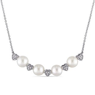 Miadora 5.5-6mm Freshwater Cultured Pearl and Diamond Accent Heart Bead Station Necklace in 10k White Gold