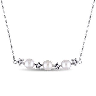 Miadora 5.5-6mm Freshwater Cultured Pearl and Diamond Accent Star Bead Station Necklace in 10k White Gold