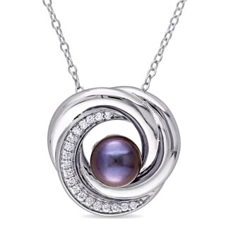 Miadora 7-7.5mm Black Freshwater Cultured Pearl and 1/6ct TDW Diamond Swirl Necklace in Sterling Silver (G-H,I2-I3)