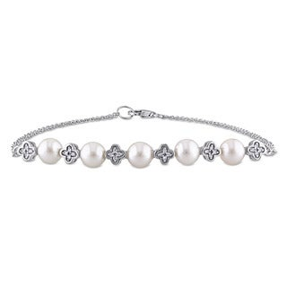Miadora 5.5-6mm Freshwater Cultured Pearl and Diamond Accent Flower Bead Station Bracelet in 10k White Gold