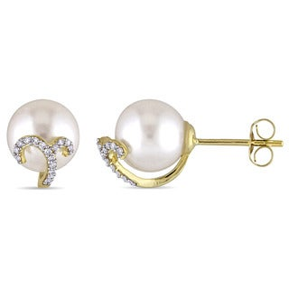 Miadora 8.5-9mm Freshwater Cultured Pearl and 1/10ct TDW Diamond Filigree Stud Earrings in 14k Yellow Gold (G-H,I1-I2)