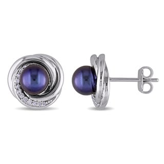 Miadora 6-6.5mm Black Freshwater Cultured Pearl and 1/10ct TDW Diamond Swirl Stud Earrings in Sterling Silver (G-H,I2-I3)