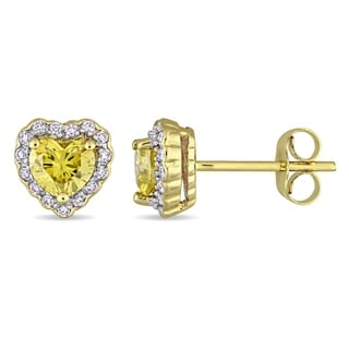 1ct TDW Diamond Heart Halo Stud Earrings in 14k Yellow Gold by The Miadora Signature Collection