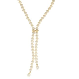 Pearls For You 14-karat Yelow Gold White Freshwater Pearl Y Necklace